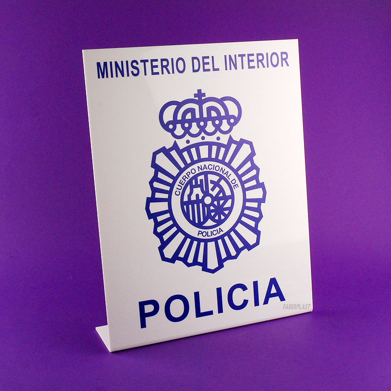display metacrilato policia